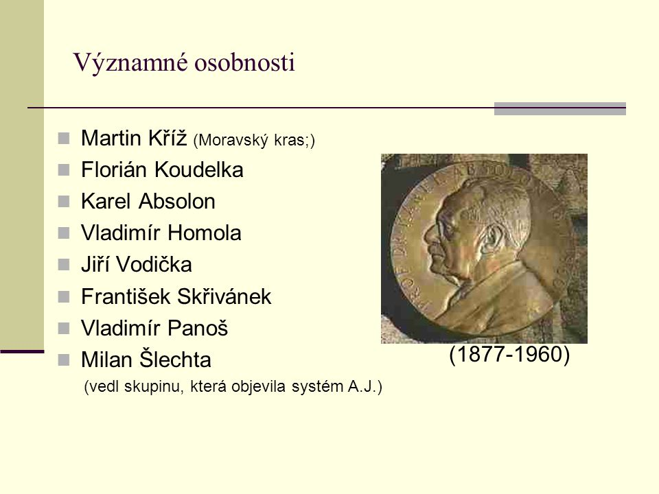 Významné osobnosti Martin Kříž (Moravský kras;) Florián Koudelka