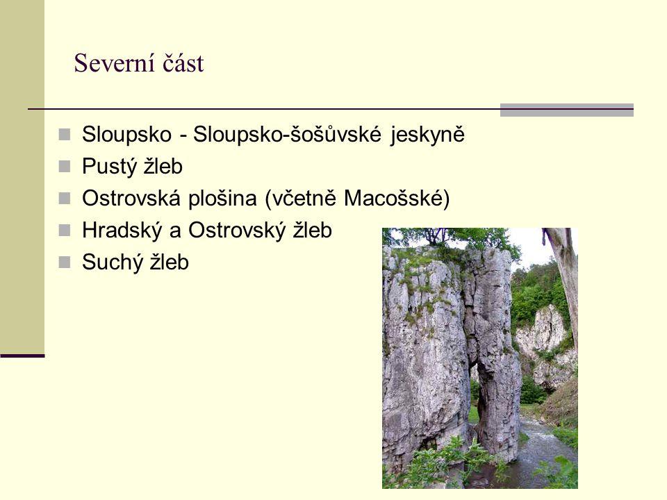 Severní část Sloupsko - Sloupsko-šošůvské jeskyně Pustý žleb