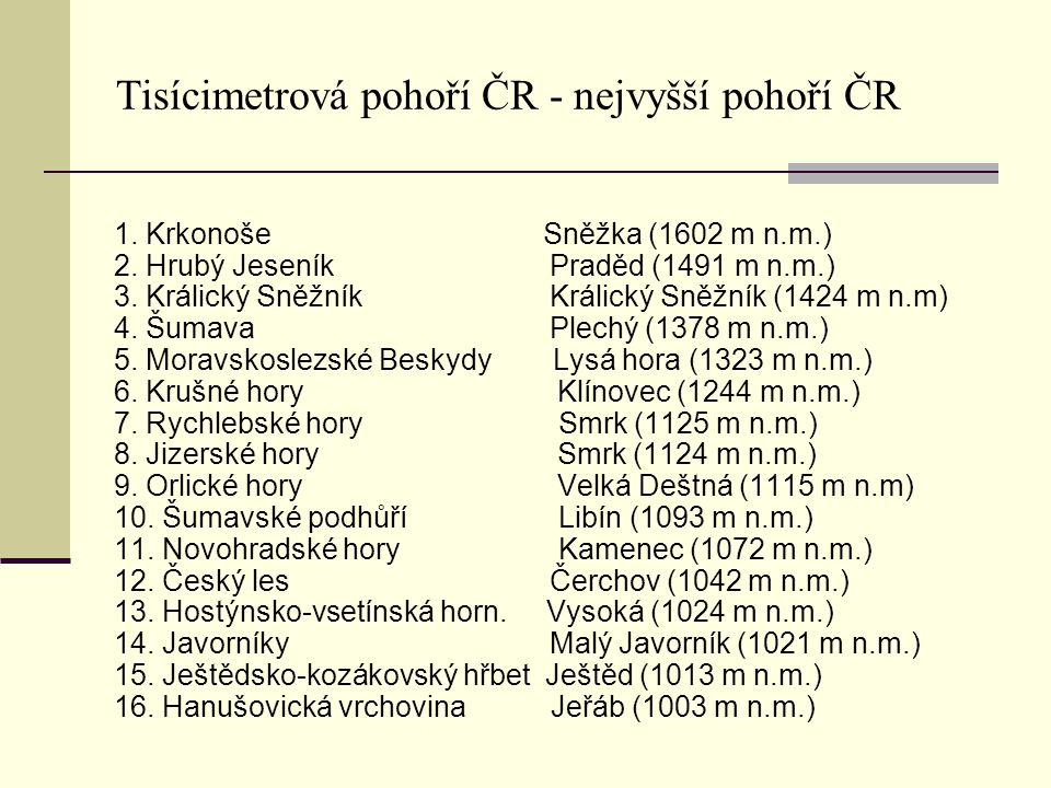 Tisícimetrová pohoří ČR - nejvyšší pohoří ČR