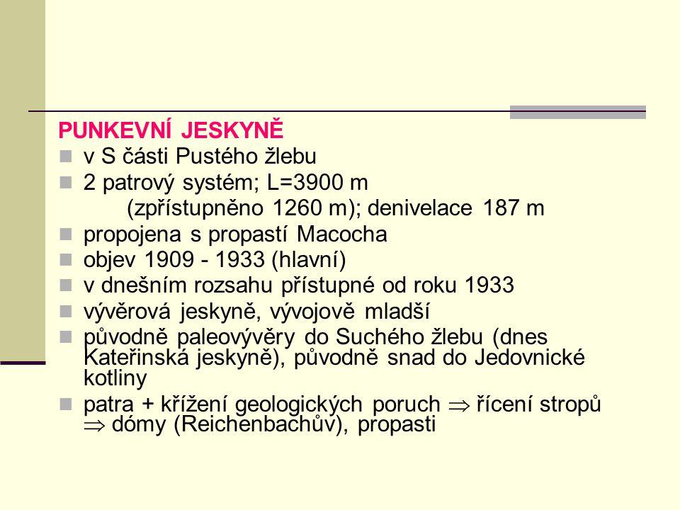 PUNKEVNÍ JESKYNĚ v S části Pustého žlebu. 2 patrový systém; L=3900 m. (zpřístupněno 1260 m); denivelace 187 m.