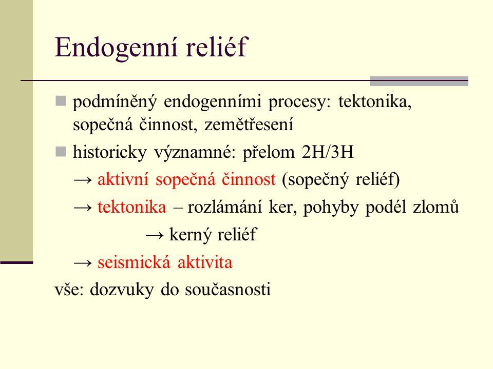 Endogenní reliéf podmíněný endogenními procesy: tektonika, sopečná činnost, zemětřesení. historicky významné: přelom 2H/3H.