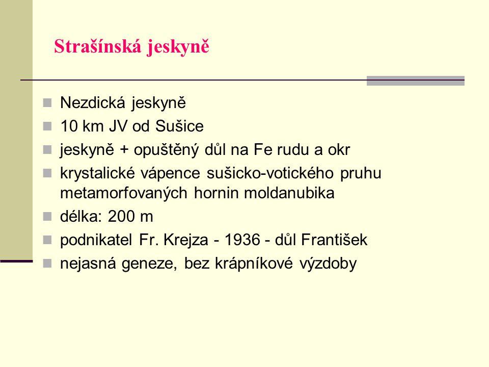 Strašínská jeskyně Nezdická jeskyně 10 km JV od Sušice