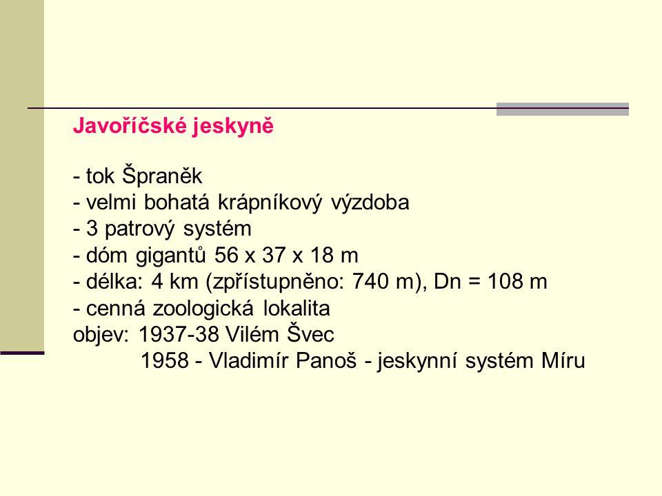 Javoříčské jeskyně - tok Špraněk. - velmi bohatá krápníkový výzdoba. - 3 patrový systém. - dóm gigantů 56 x 37 x 18 m.