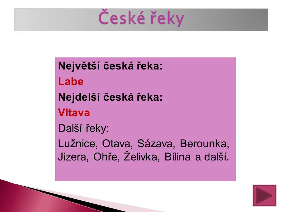 České řeky Největší česká řeka: Labe Nejdelší česká řeka: Vltava