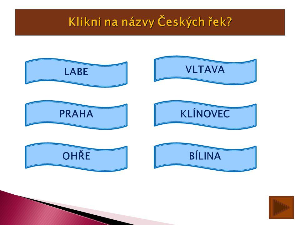 Klikni na názvy Českých řek