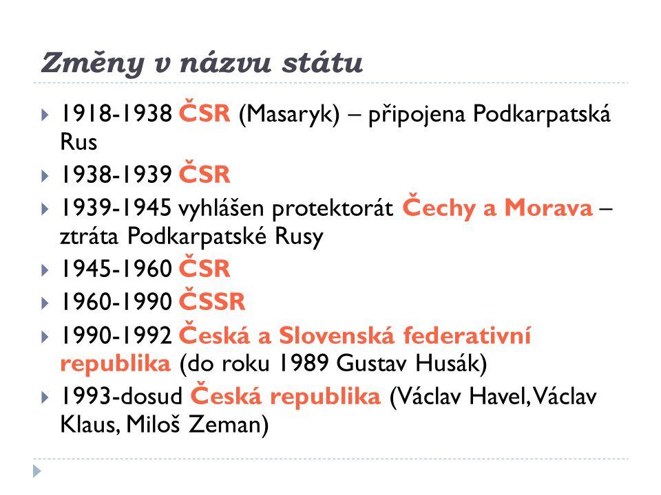 Změny v názvu státu 1918-1938 ČSR (Masaryk) – připojena Podkarpatská Rus. 1938-1939 ČSR.