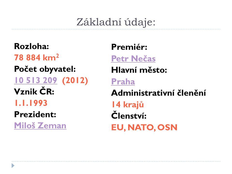 Základní údaje: Rozloha: Premiér: 78 884 km2 Petr Nečas