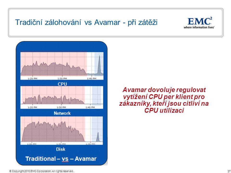 Tradiční zálohování vs Avamar - při zátěži