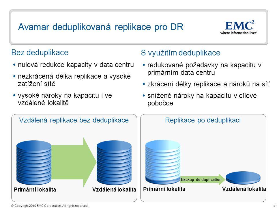 Avamar deduplikovaná replikace pro DR