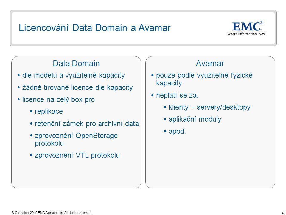 Licencování Data Domain a Avamar