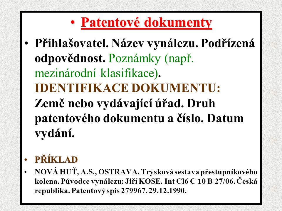 Patentové dokumenty