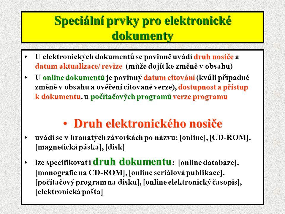 Speciální prvky pro elektronické dokumenty