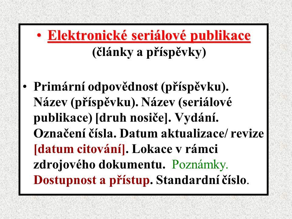 Elektronické seriálové publikace (články a příspěvky)