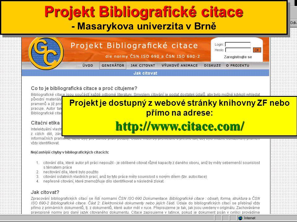 Projekt Bibliografické citace - Masarykova univerzita v Brně