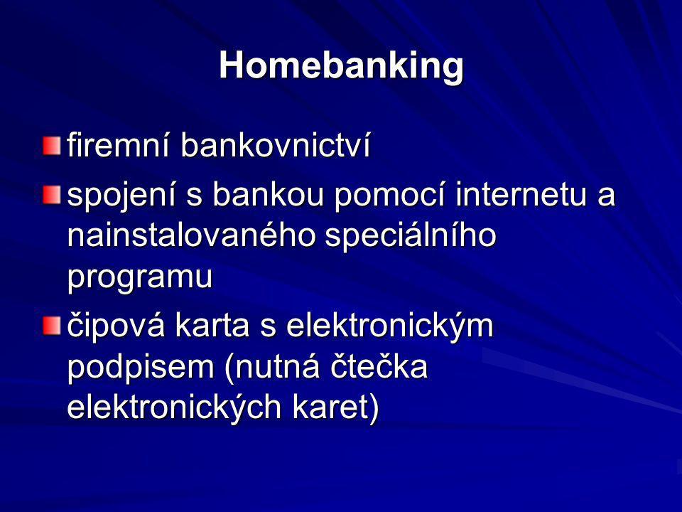 Homebanking firemní bankovnictví