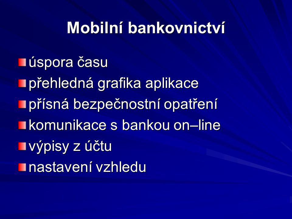 Mobilní bankovnictví úspora času přehledná grafika aplikace