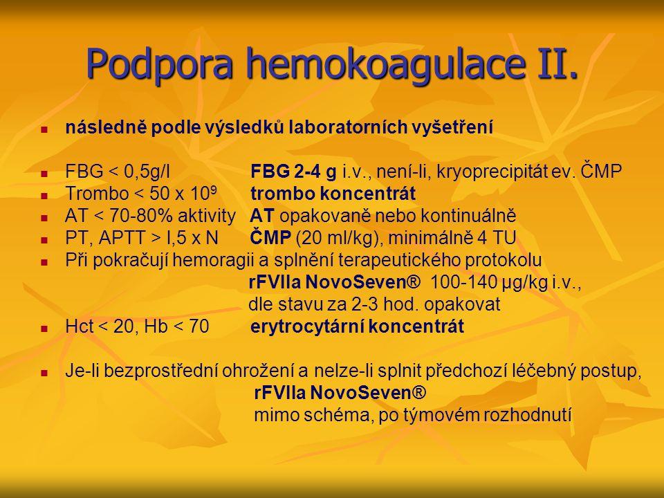 Podpora hemokoagulace II.