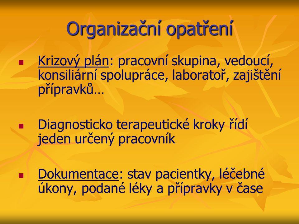 Organizační opatření Krizový plán: pracovní skupina, vedoucí, konsiliární spolupráce, laboratoř, zajištění přípravků…