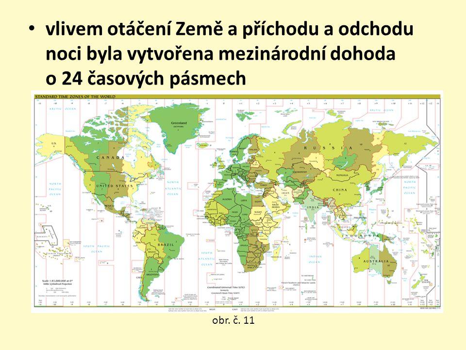 vlivem otáčení Země a příchodu a odchodu noci byla vytvořena mezinárodní dohoda o 24 časových pásmech