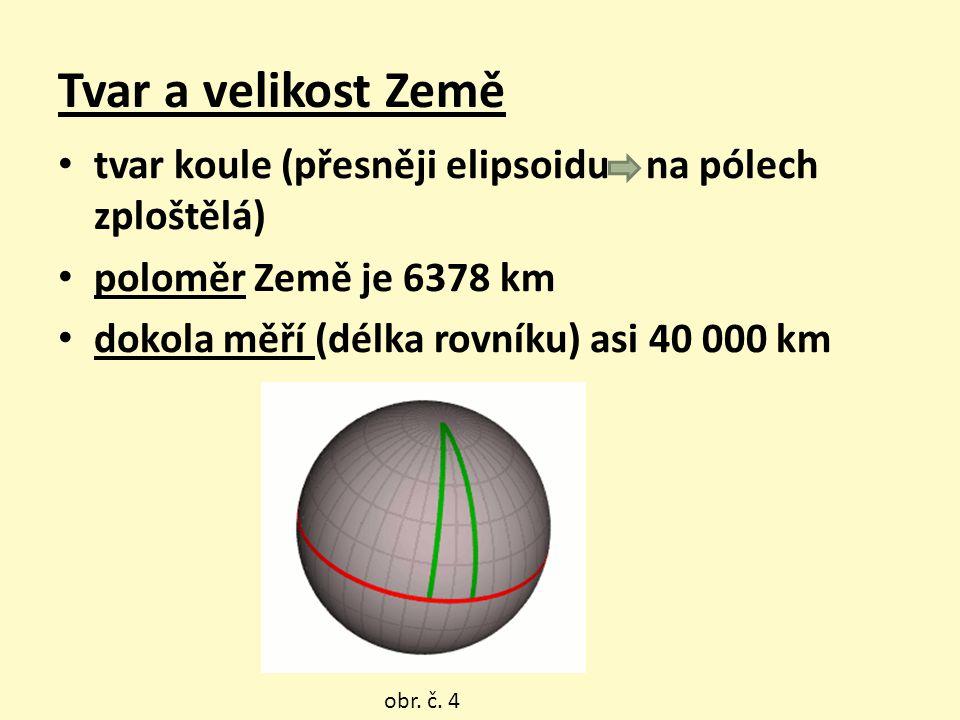 Tvar a velikost Země tvar koule (přesněji elipsoidu na pólech zploštělá) poloměr Země je 6378 km.