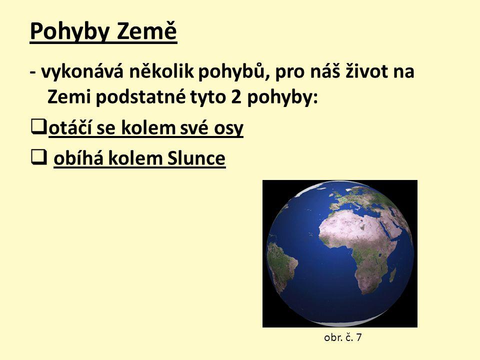 Pohyby Země - vykonává několik pohybů, pro náš život na Zemi podstatné tyto 2 pohyby: otáčí se kolem své osy.