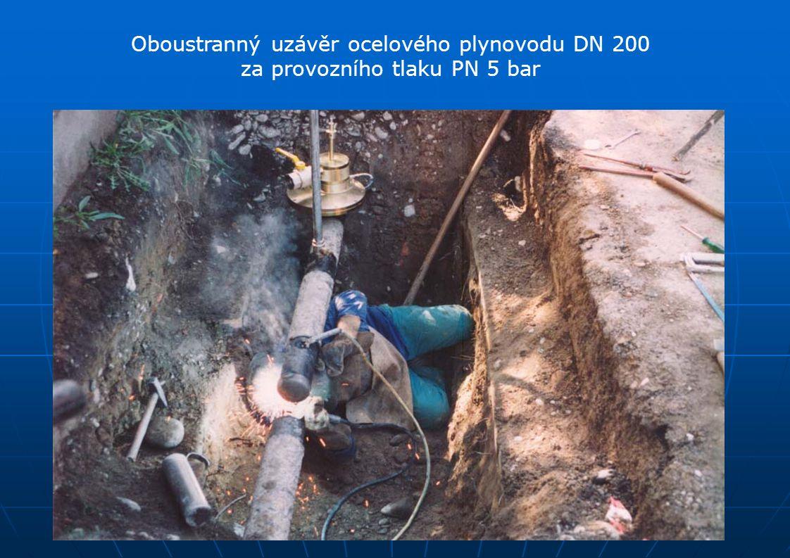 Oboustranný uzávěr ocelového plynovodu DN 200 za provozního tlaku PN 5 bar