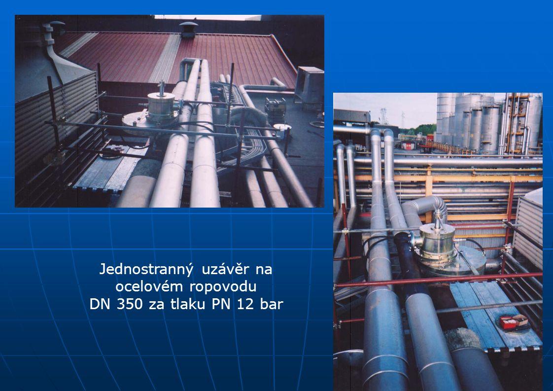 Jednostranný uzávěr na ocelovém ropovodu