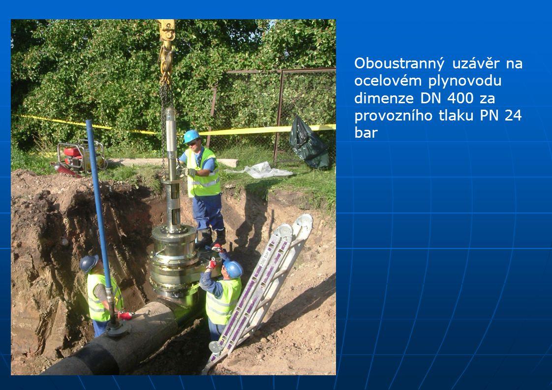Oboustranný uzávěr na ocelovém plynovodu dimenze DN 400 za provozního tlaku PN 24 bar