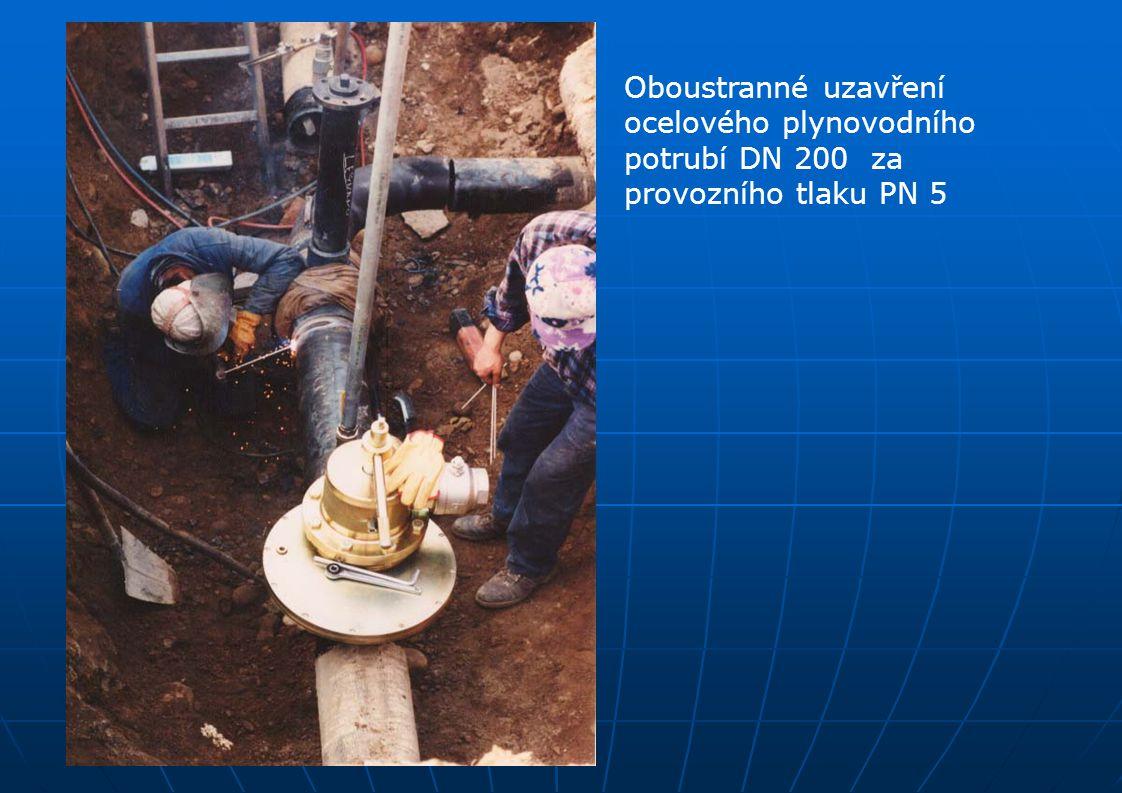 Oboustranné uzavření ocelového plynovodního potrubí DN 200 za