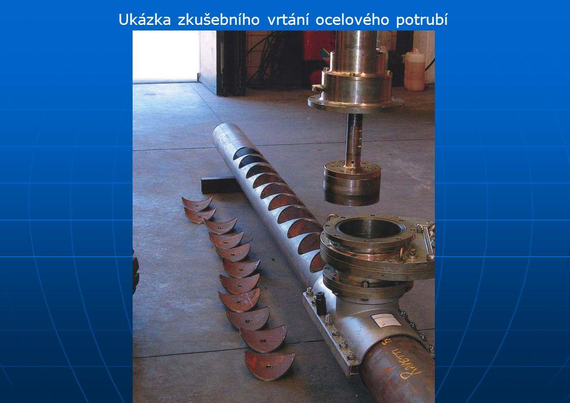 Ukázka zkušebního vrtání ocelového potrubí