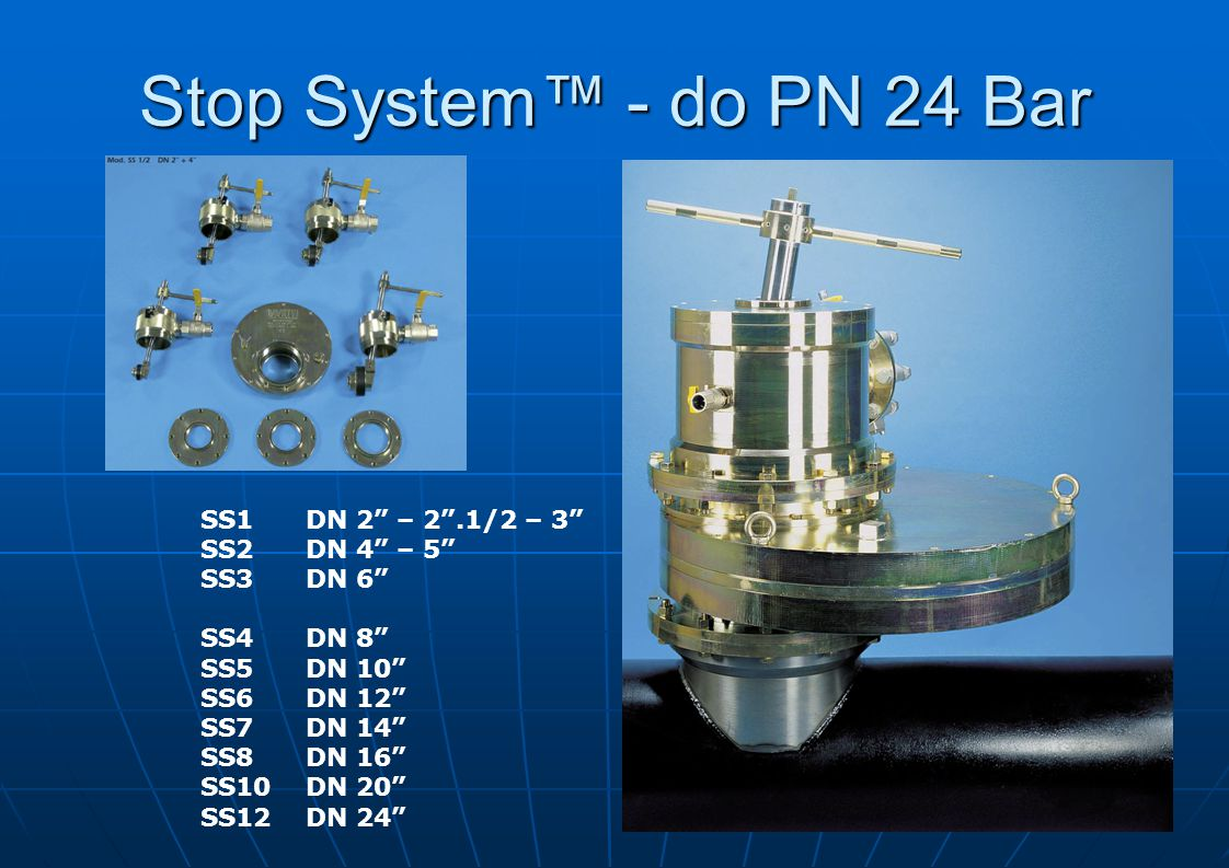 Stop System™ - do PN 24 Bar SS1 DN 2 – 2 .1/2 – 3 SS2 DN 4 – 5