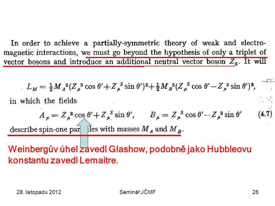 Weinbergův úhel zavedl Glashow, podobně jako Hubbleovu konstantu zavedl Lemaitre.