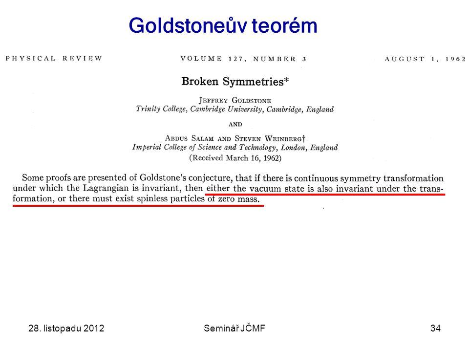 Goldstoneův teorém 28. listopadu 2012 Seminář JČMF