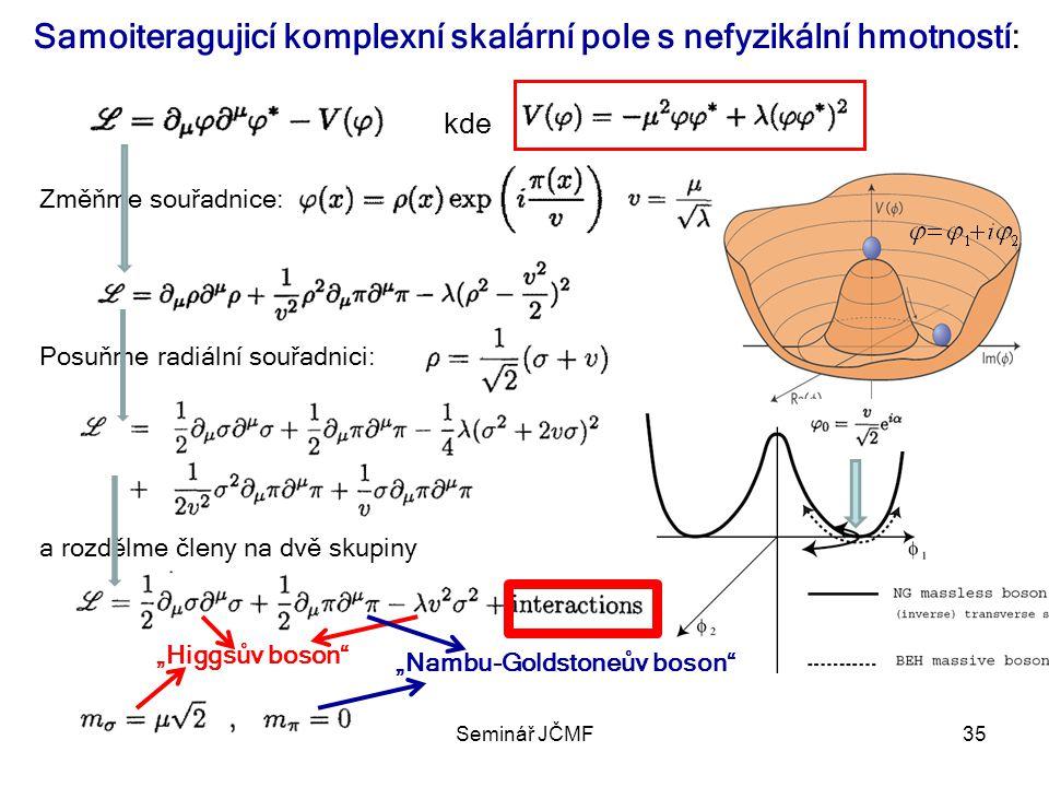 Samoiteragujicí komplexní skalární pole s nefyzikální hmotností: