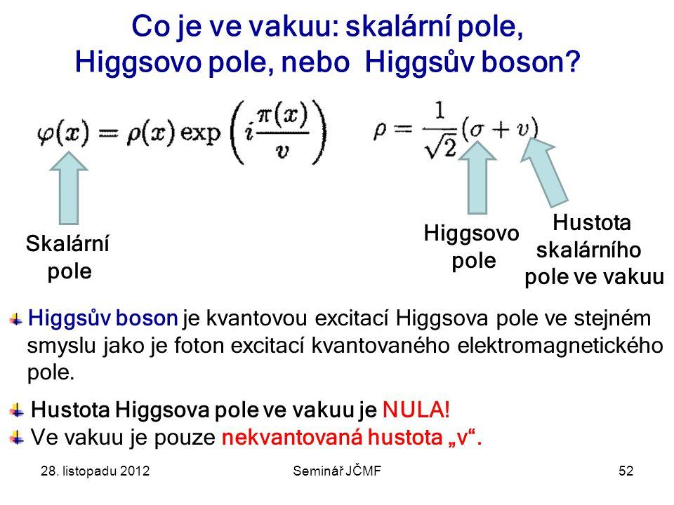 Co je ve vakuu: skalární pole, Higgsovo pole, nebo Higgsův boson