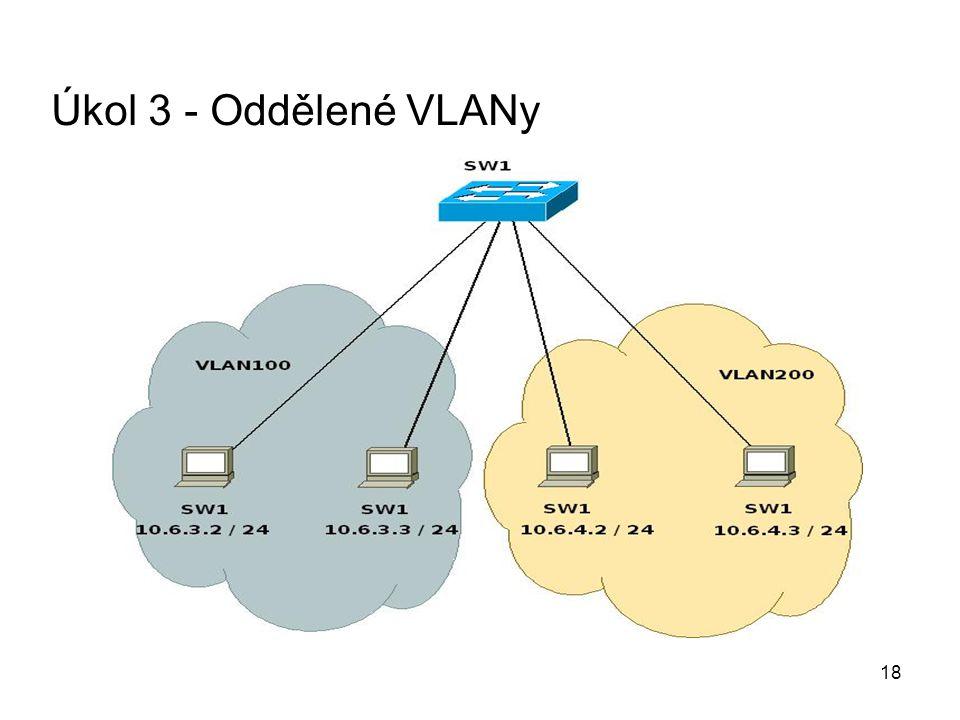 Úkol 3 - Oddělené VLANy 18