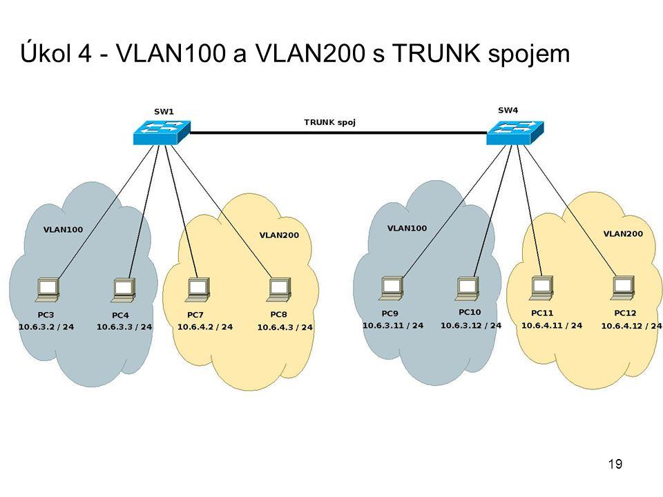 Úkol 4 - VLAN100 a VLAN200 s TRUNK spojem