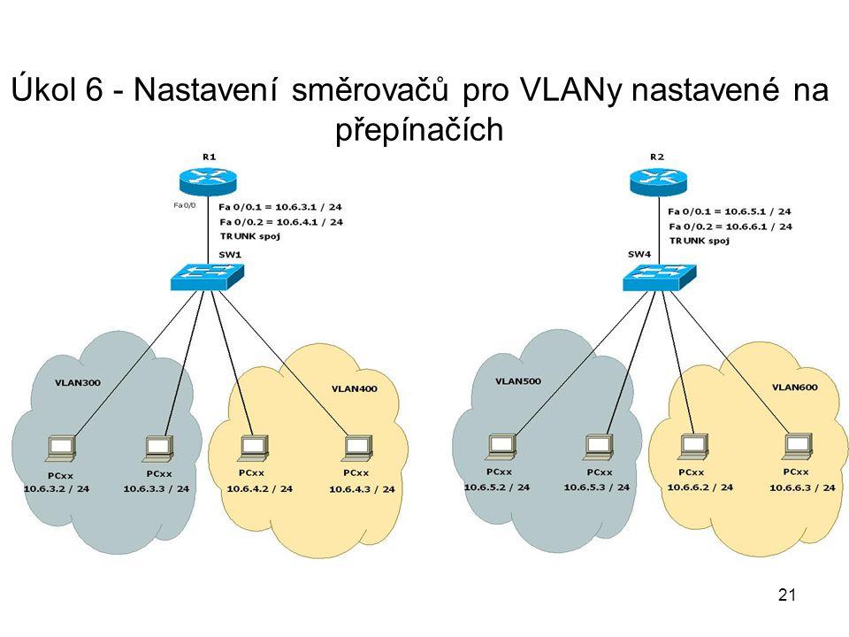 Úkol 6 - Nastavení směrovačů pro VLANy nastavené na přepínačích