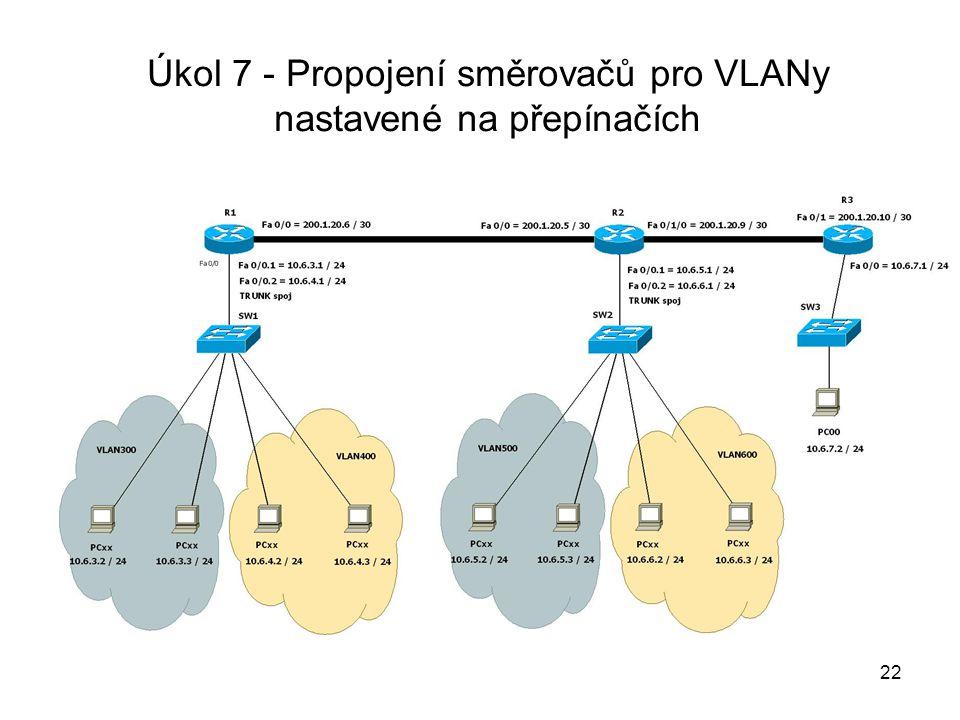 Úkol 7 - Propojení směrovačů pro VLANy nastavené na přepínačích