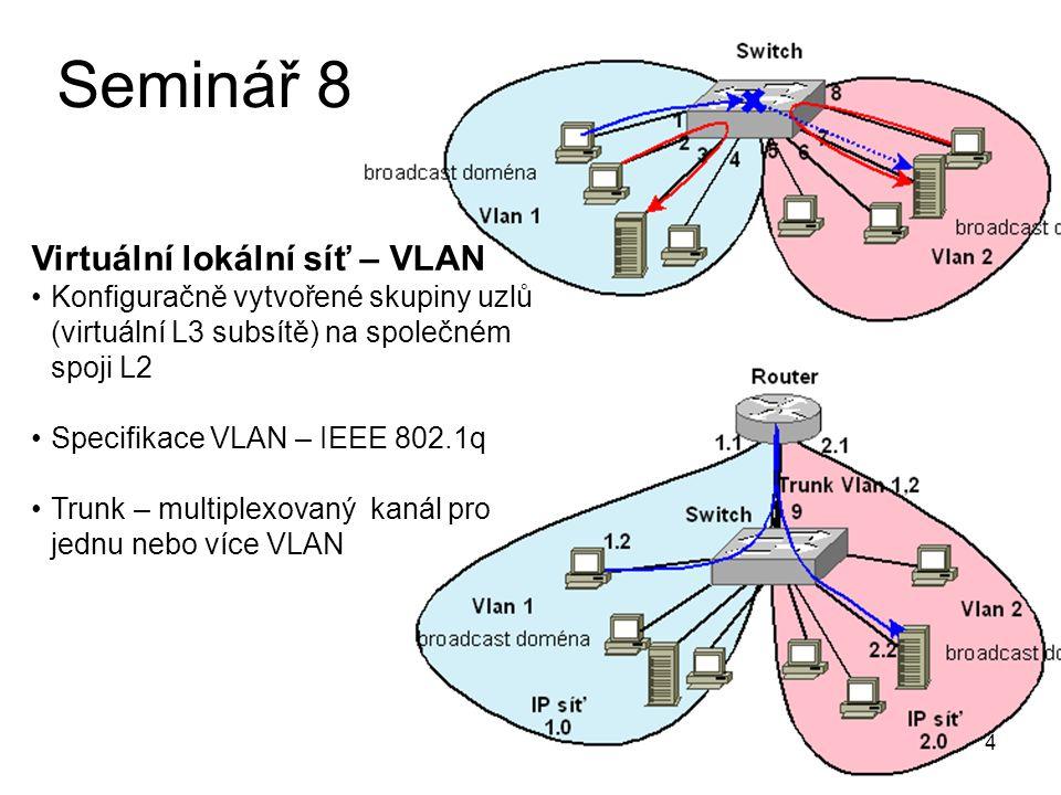 Seminář 8 Virtuální lokální síť – VLAN
