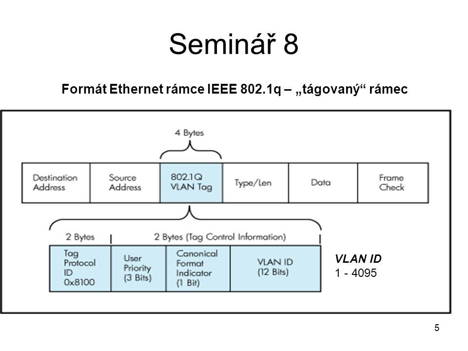 """Seminář 8 Formát Ethernet rámce IEEE 802.1q – """"tágovaný rámec VLAN ID"""