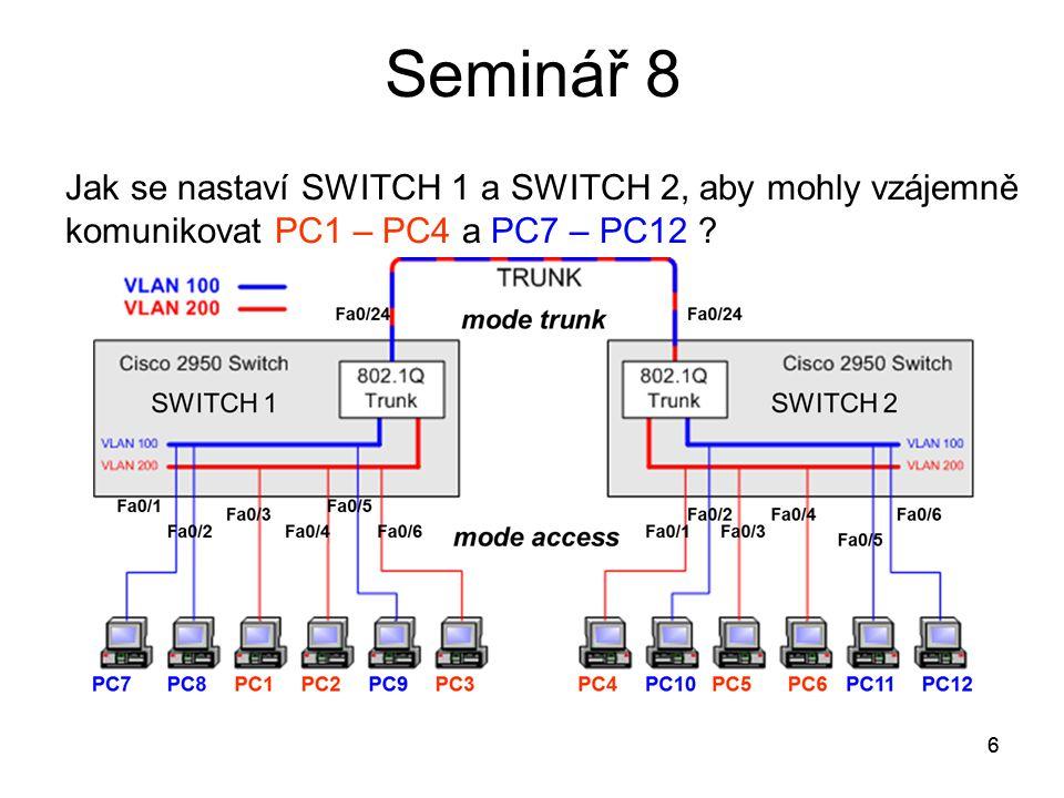Seminář 8 Jak se nastaví SWITCH 1 a SWITCH 2, aby mohly vzájemně komunikovat PC1 – PC4 a PC7 – PC12