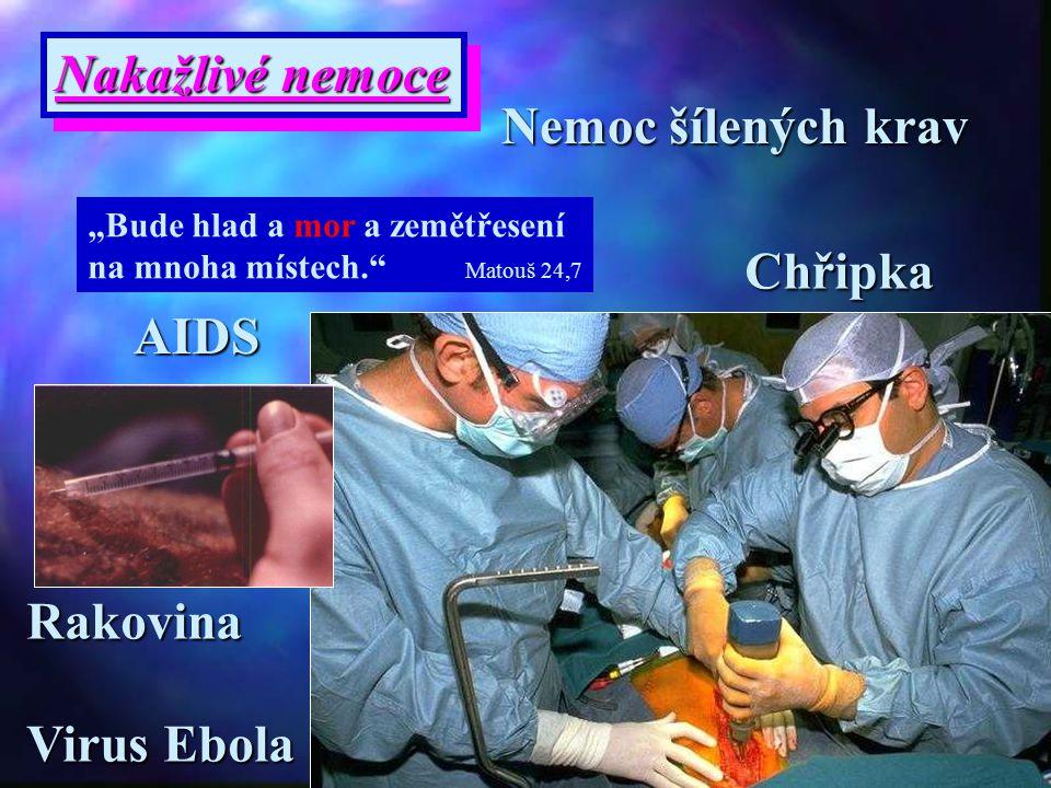 Nakažlivé nemoce Nemoc šílených krav Chřipka AIDS Rakovina Virus Ebola