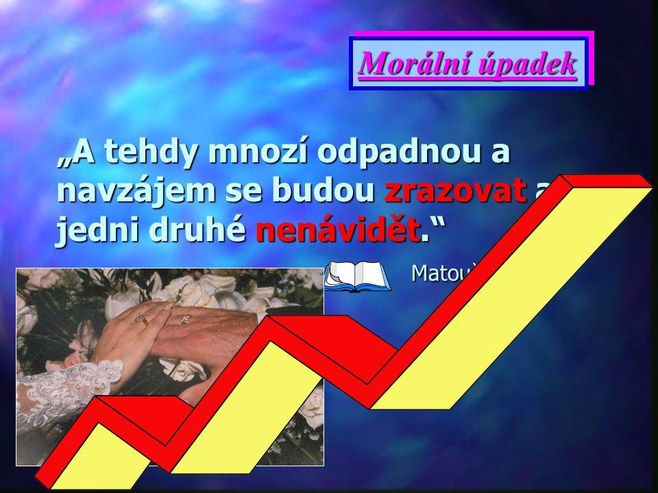 """Morální úpadek """"A tehdy mnozí odpadnou a navzájem se budou zrazovat a jedni druhé nenávidět. Matouš 24,10."""