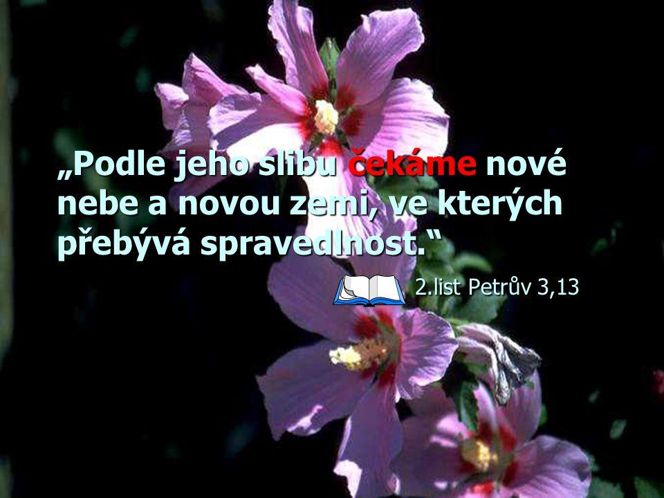 """""""Podle jeho slibu čekáme nové nebe a novou zemi, ve kterých přebývá spravedlnost. 2.list Petrův 3,13"""