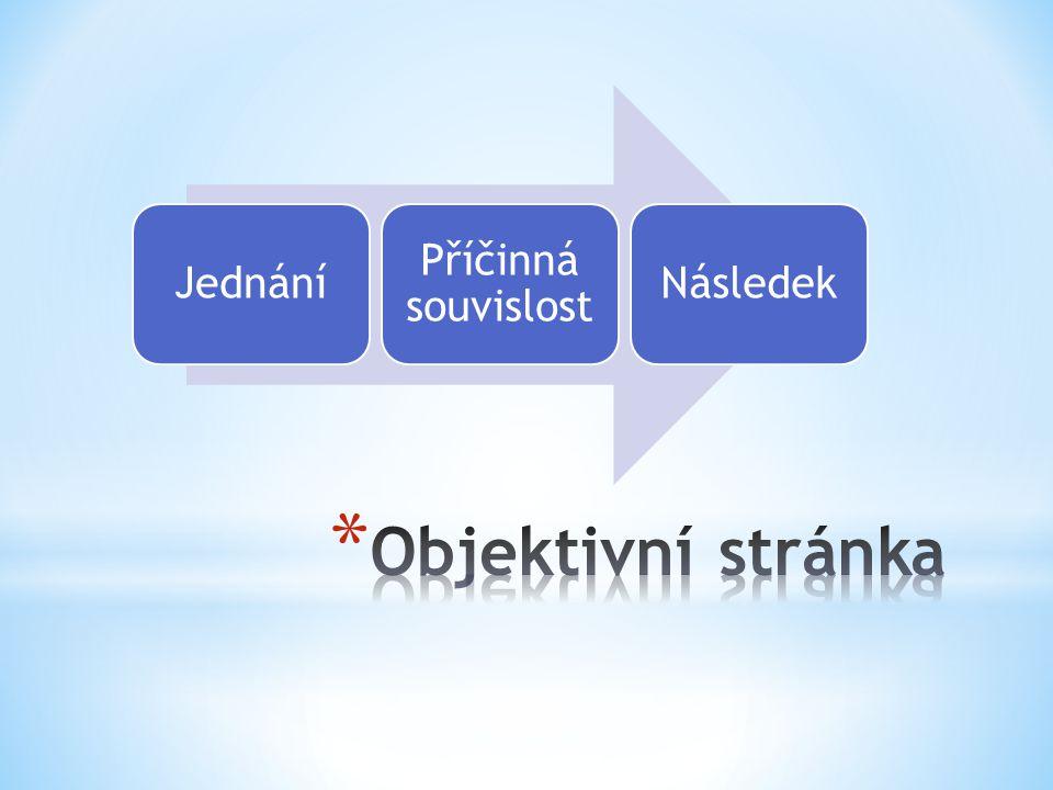 Jednání Příčinná souvislost Následek Objektivní stránka