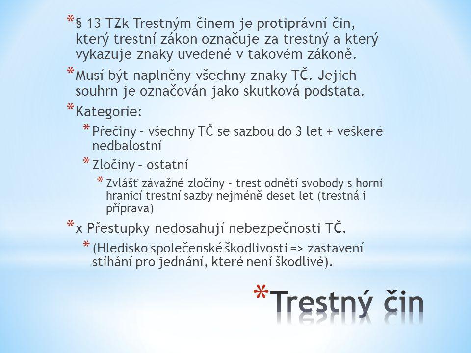 § 13 TZk Trestným činem je protiprávní čin, který trestní zákon označuje za trestný a který vykazuje znaky uvedené v takovém zákoně.