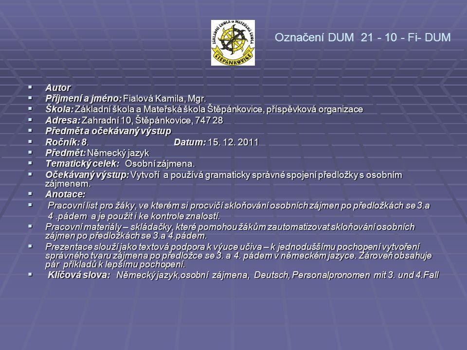 Označení DUM 21 - 10 - Fi- DUM Autor