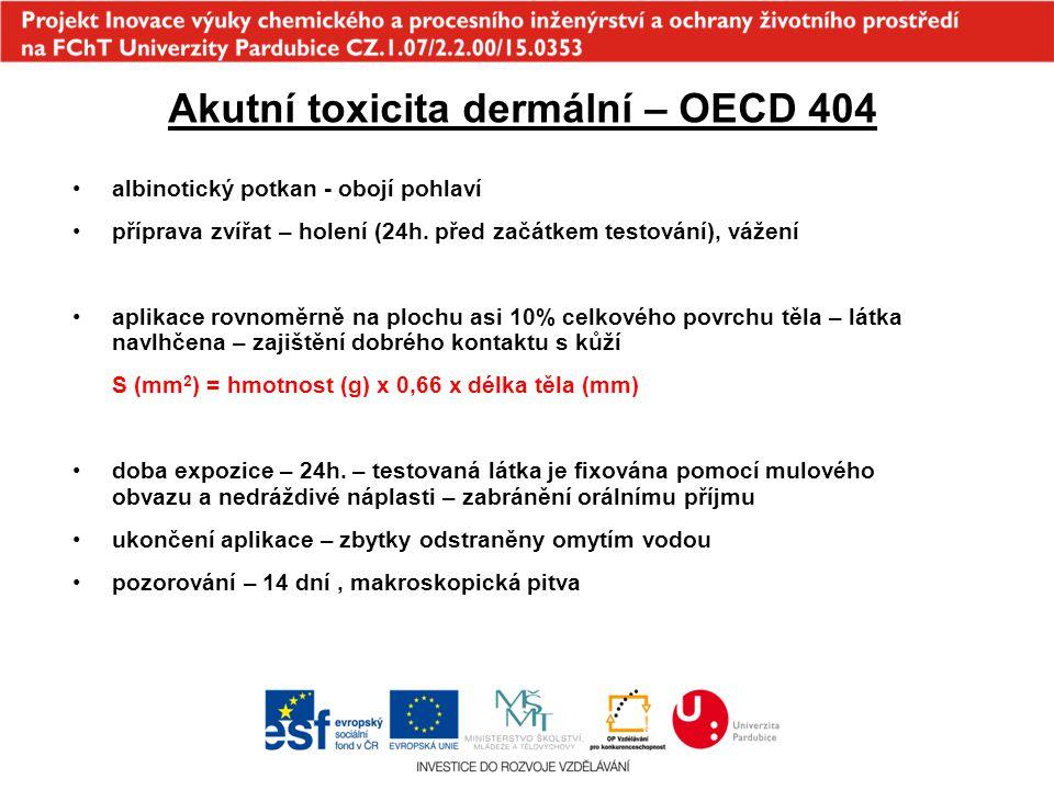 Akutní toxicita dermální – OECD 404