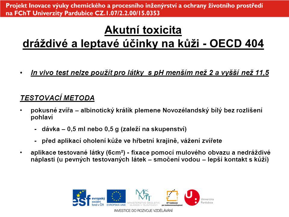 Akutní toxicita dráždivé a leptavé účinky na kůži - OECD 404